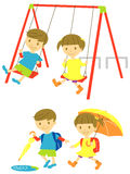 Playing kids. In the park, rainy day school kids Royalty Free Stock Photos