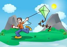 Playing a Kite Royalty Free Stock Photos