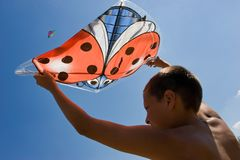 Playing the kite Stock Image