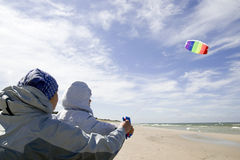 Playing with kite Stock Photo