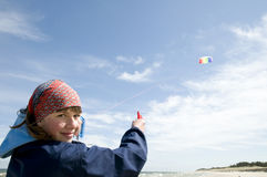 Playing with kite Stock Photos
