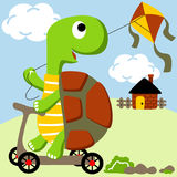 Playing kite. Vector cartoon illustration of a cute turtle playing kite in the village field ride on wooden scooter at summer time Royalty Free Stock Photos