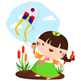 Playing Kite. A vector of woman Playing Kite Stock Photos