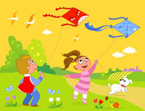 Playing with kites stock illustration