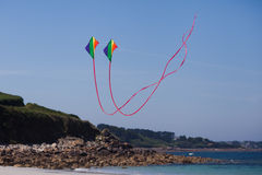 Playing with kites at the beach Royalty Free Stock Photography