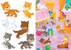 Playing kittens. Funny small kittens playing in the room (illustration and isolated clip-arts Stock Images