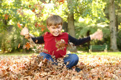 Playing in Leaves Stock Photos