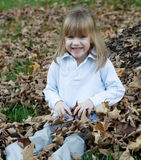 Playing in the leaves. Four year old child playing in the autumn leaves Royalty Free Stock Photo