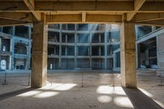 Playing light in a building under construction. Mayapur, India. Construction of new temple stock image