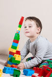 Playing little boy with colored cubes Stock Photos