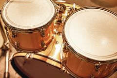 Playing live music. Close up view of professional drum set in music studio. Music concept. Live music. Close up view of professional drum set in music studio royalty free stock photo