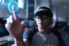 Playing magic | Virtual reality with hololens royalty free stock photos