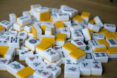 Playing mahjong dice on the table. Before game royalty free stock image