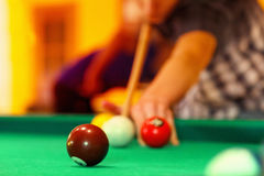 Playing in billiard pool activity. royalty free stock images