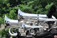 Playing Marching Tubas and Baritones in Parade Royalty Free Stock Photos