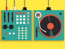 Playing mixing music on vinyl turntable. Vector flat illustration Royalty Free Stock Image