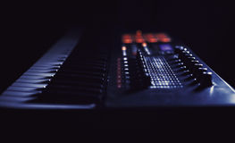 Playing Modern Midi Keyboard Royalty Free Stock Photography