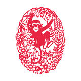 Playing monkey(Chinese traditional paper-cut art) Royalty Free Stock Images