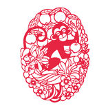 Playing monkey(Chinese traditional paper-cut art) Royalty Free Stock Photos
