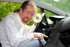 Playing music in the car Royalty Free Stock Photo