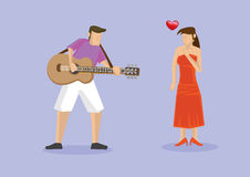 Playing Music on Guitar to Girlfriend Stock Images