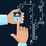Playing music in Mp3 player hands. On background with notes. Finger presses button play flat design cartoon style. Touchphone with connected headphones Stock Images