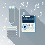 Playing music in Mp3 player Royalty Free Stock Image