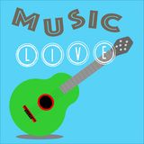 Playing music using a guitar vector illustration