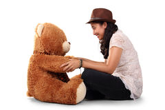 Playing with my bear friend Royalty Free Stock Images