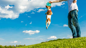 Playing with my small active dog. Stock Image