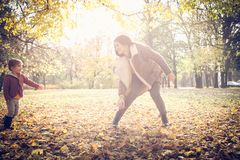 Playing in nature. Autumn sunny day. royalty free stock image