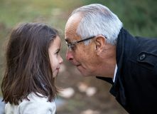 Playing nose to nose with grandpa stock image