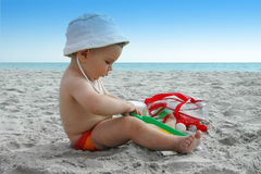 Playing On The Beach Stock Images