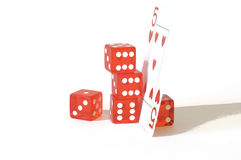 Playing orange dices Royalty Free Stock Photo