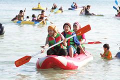 Playing Paddle Raft Stock Photo