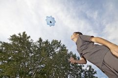 Playing with parachute toy Royalty Free Stock Photography
