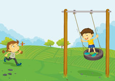 Playing in the park royalty free illustration
