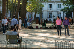 Playing petanque in the late afternoon in Luxemburg Garden in Paris, Stock Photos