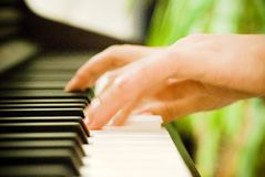Playing the piano. Closeup of hands at a piano keyboard; hands are blurred, showing fast fingering Stock Photography