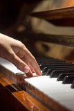 Playing on piano keyboard Stock Images