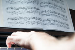 Playing the piano. Singer hands with piano keys in detail mode Stock Images