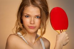Playing ping pong Stock Photography