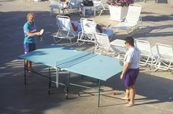 Playing ping-pong, Hotel Coronado, San Diego, CA Stock Photography