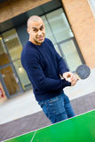 Playing ping pong Stock Photo