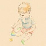 Playing_piramid_boy Fotografering för Bildbyråer