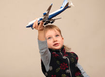 Playing with plane Royalty Free Stock Photography