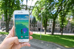 Playing Pokemon Go game Royalty Free Stock Images