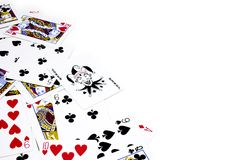 Playing Poker Cards. Scattered on left side of frame Stock Photos