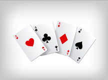 Playing poker cards. Poker aces isolated on gray background. Poster template. Stock Photos