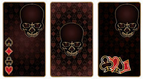Playing poker cards with skull pattern Stock Images